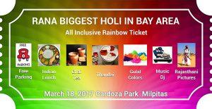 RANA Bay Area Holi Ticket 2017